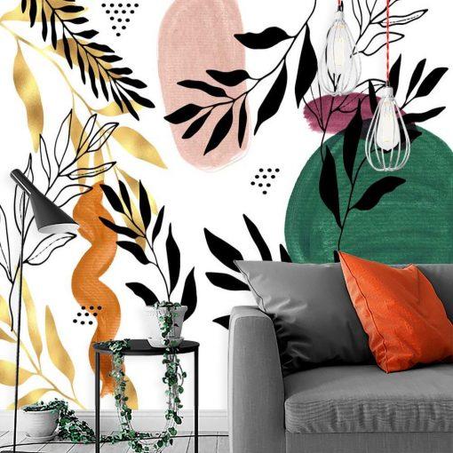 Grafika z roślinami na tapecie
