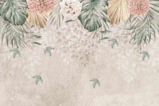 Kobieca fototapeta w kwiaty i liście monstery do gabinetu