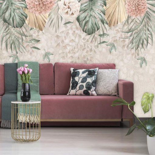 Kobieca fototapeta w kwiaty i liście monstery do pokoju