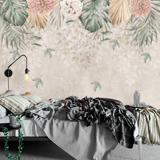 Kobieca fototapeta w kwiaty i liście monstery do sypialni