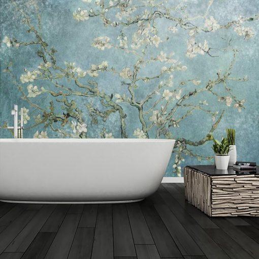 Kwitnący migdał - Fototapeta z reprodukcją do łazienki