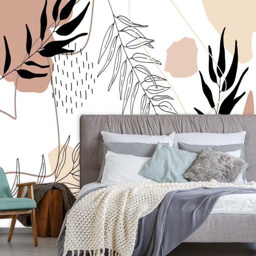 Motywy abstrakcji i roślin na tapecie