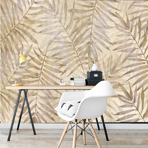 Orientalna tapeta - Beżowe liście do biura