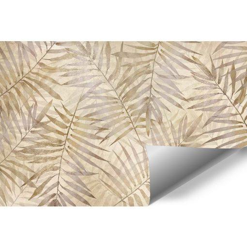 Orientalna tapeta - Beżowe liście do przedpokoju