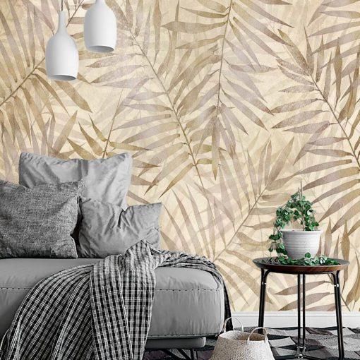 Orientalna tapeta - Beżowe liście do salonu
