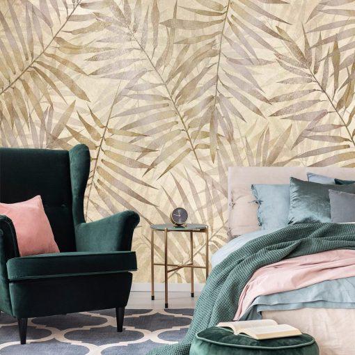 Orientalna tapeta - Beżowe liście do sypialni