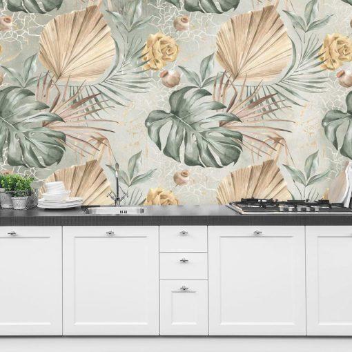 Pastelowa foto-tapeta w liście monstery do kuchni
