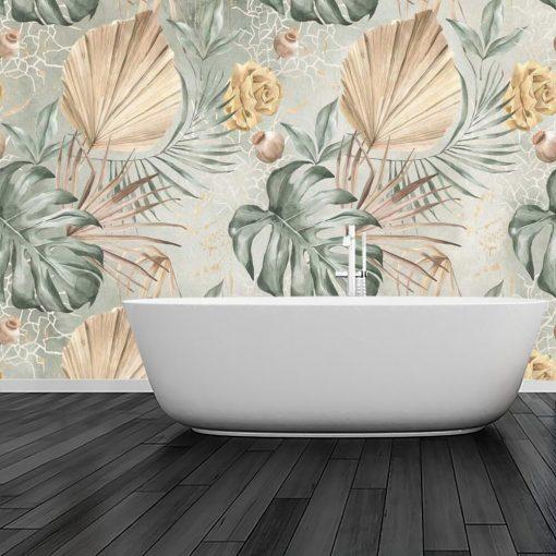 Pastelowa foto-tapeta w liście monstery do łazienki