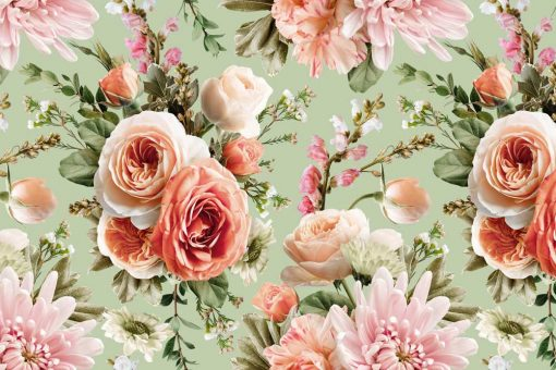 Pastelowa foto-tapeta z kwiatami
