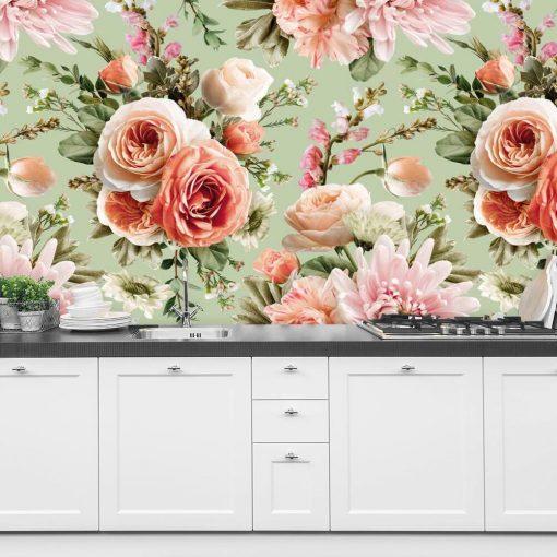 Pastelowa foto-tapeta z kwiatami do kuchni