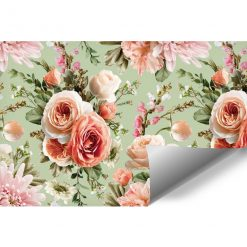 Pastelowa foto-tapeta z kwiatami do salonu