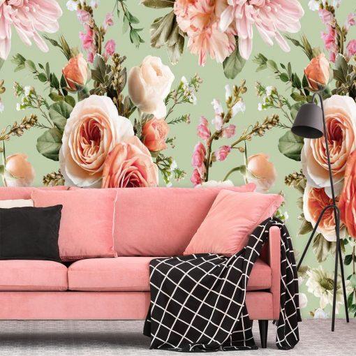 Pastelowa foto-tapeta z kwiatami do salonu kosmetycznego