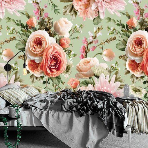 Pastelowa foto-tapeta z kwiatami do sypialni