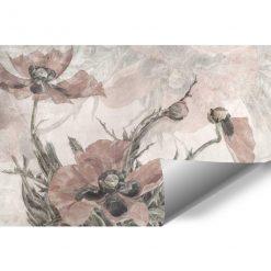 Pastelowe maki - Różowa fototapeta do jadalni