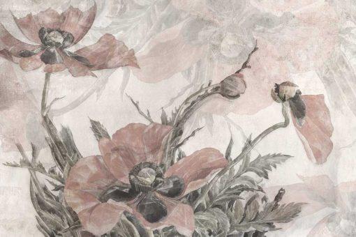 Pastelowe maki - Różowa fototapeta do salonu kosmetycznego