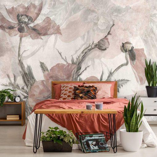 Pastelowe maki - Różowa fototapeta do sypialni