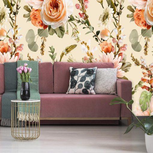 Piwonie - Fototapeta botaniczna do sypialni