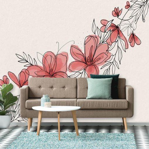 Różowa tapeta z kwiatkami