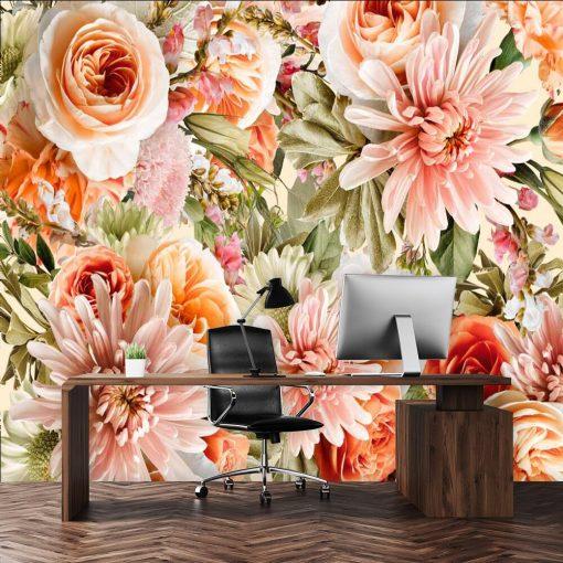 Różowe kwiaty na fototapecie do gabinetu