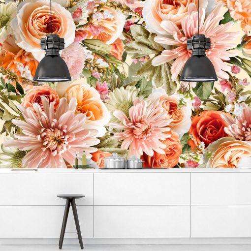 Różowe kwiaty na fototapecie do jadalni
