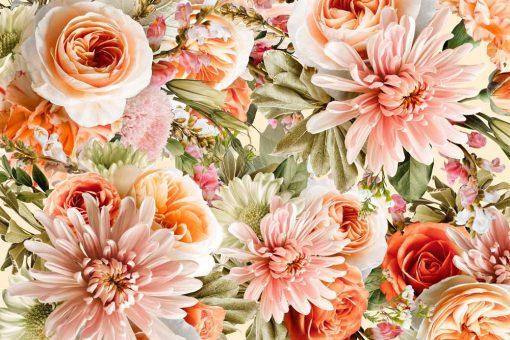 Różowe kwiaty na fototapecie do pokoju