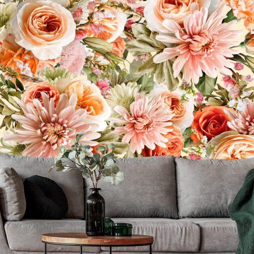 Różowe kwiaty na fototapecie do salonu