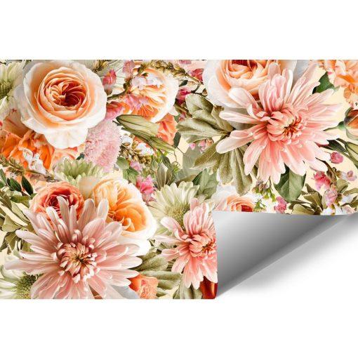 Różowe kwiaty na fototapecie do sypialni