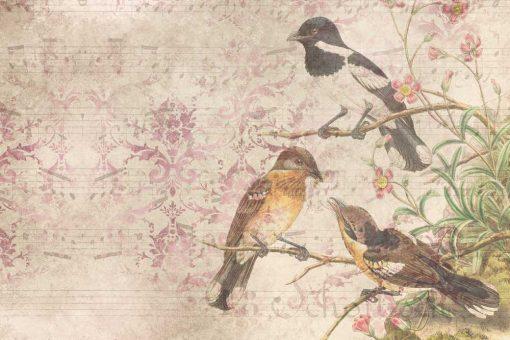 Subtelna fototapeta - Ptaki na drzewie do jadalni
