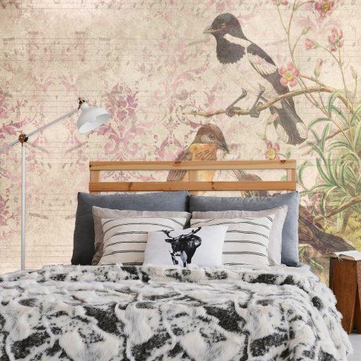 Subtelna fototapeta - Ptaki na drzewie do sypialni