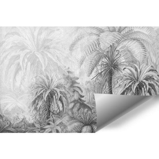 Szara foto-tapeta z egzotyczną florą do jadalni