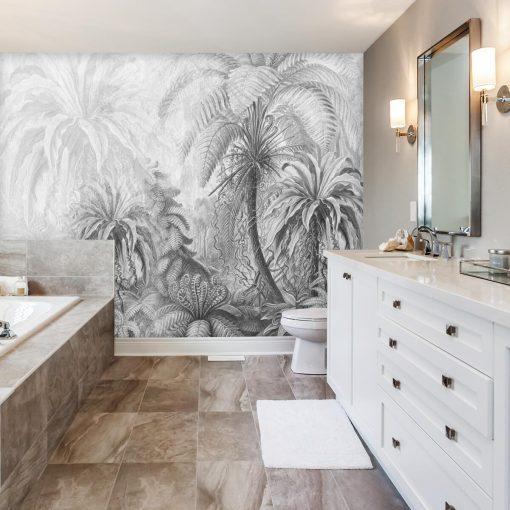 Szara foto-tapeta z egzotyczną florą do łazienki