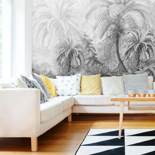 Szara foto-tapeta z egzotyczną florą do salonu
