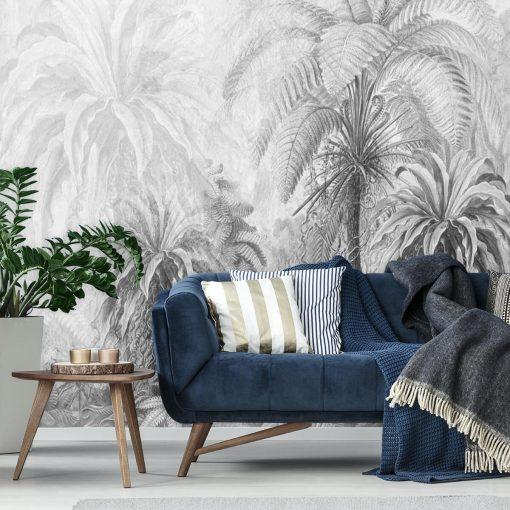 Szara foto-tapeta z egzotyczną florą do sypialni