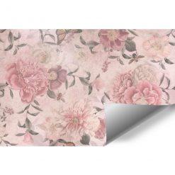 Tapeta w różowe piwonie i motyle do restauracji