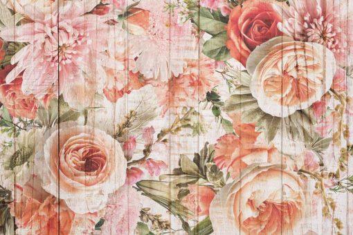 Tapeta w stylu rustykalnym z kwiatami w tonacji różu