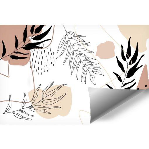Tapeta z abstrakcyjnymi plamami i roślinami