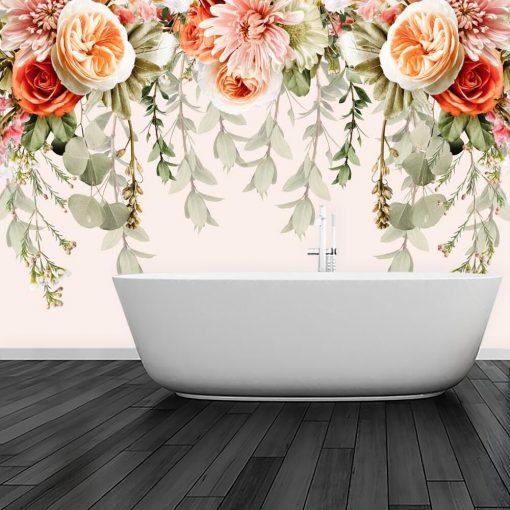 Tapeta z bladoróżową chryzantemą do łazienki