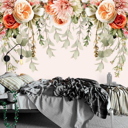 Tapeta z bladoróżową chryzantemą do sypialni
