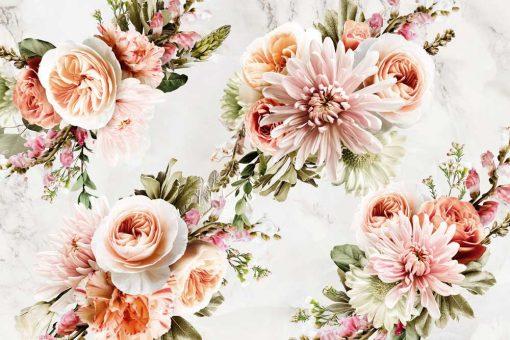 Tapeta z girlandami kwiatów
