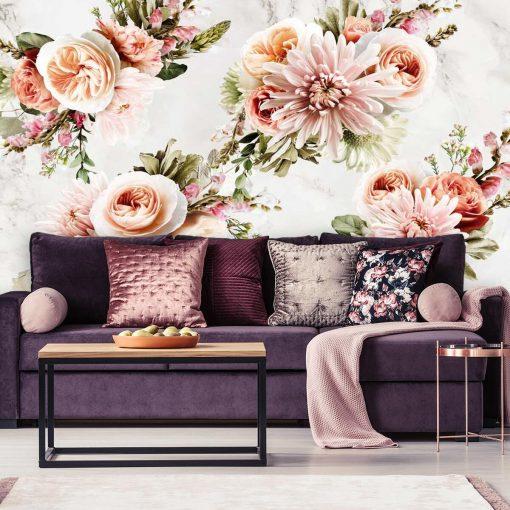Tapeta z kwiatami w pastelowych kolorach