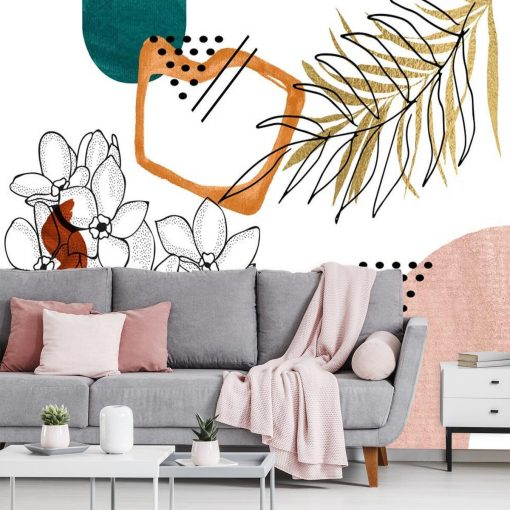 Tapeta z motywem kwiatów i abstrakcji do dekoracji salonu