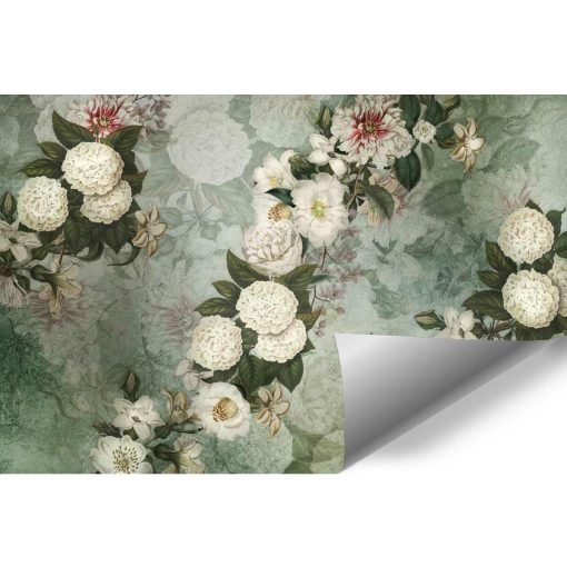 Turkusowa foto-tapeta w białe kwiaty do kawiarni