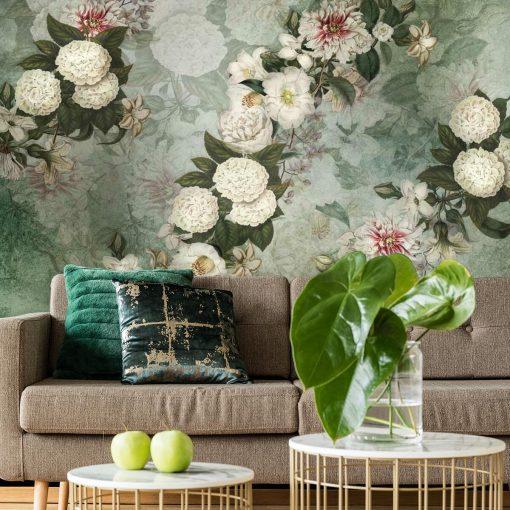 Turkusowa foto-tapeta w białe kwiaty do salonu
