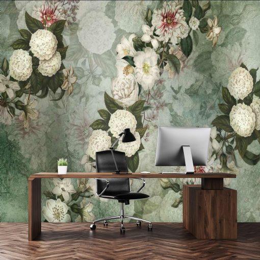 Turkusowa fototapeta w białe kwiaty do biura