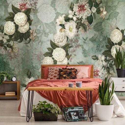 Turkusowa fototapeta w białe kwiaty do sypialni