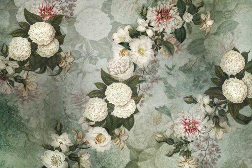 Turkusowe fototapety w białe kwiaty