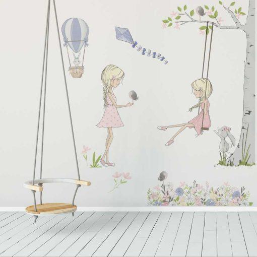 Komplet naklejek dla dzieci z dziewczynką na huśtawce
