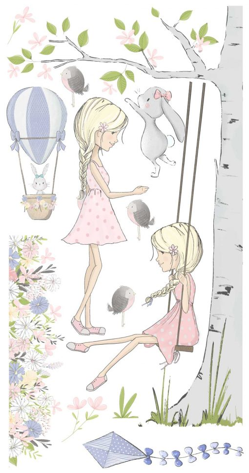 Komplet naklejek dla przedszkolaka z dziewczynką na huśtawce