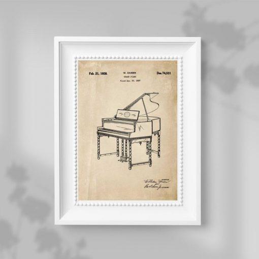 Plakat bez ramy z pianinem - patent z 1928r. w kolorze sepii