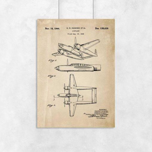 Plakat budowa samolotu dwukadłubowego z 1943r. do dekoracji gabinetu